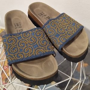 Birkenstock Betula Slides Denim Beaded NWOT sz 6